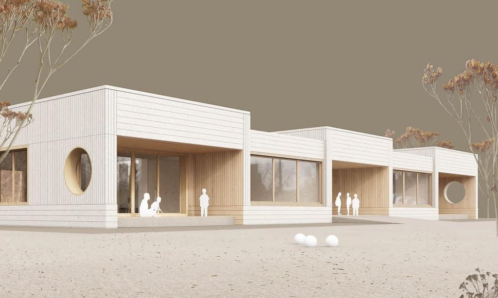 Projektwettbewerb Ersatzneubau Doppelkindergarten Steinmürli, Dietikon. Visualisierung